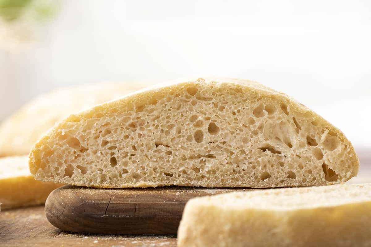 Ciabatta Recipe Cut Into Loaf