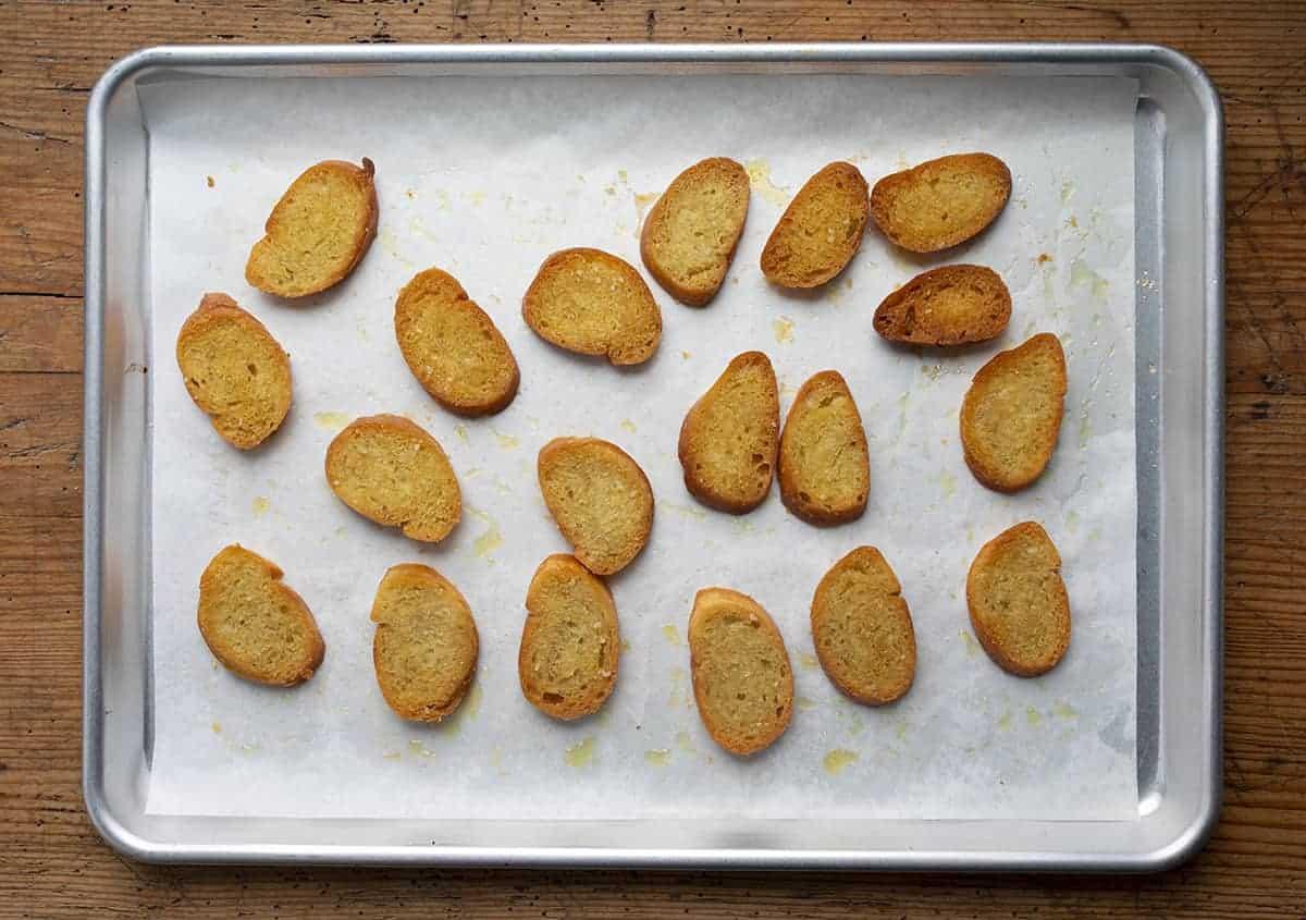 Pan of Toasted Baguette - Crostini