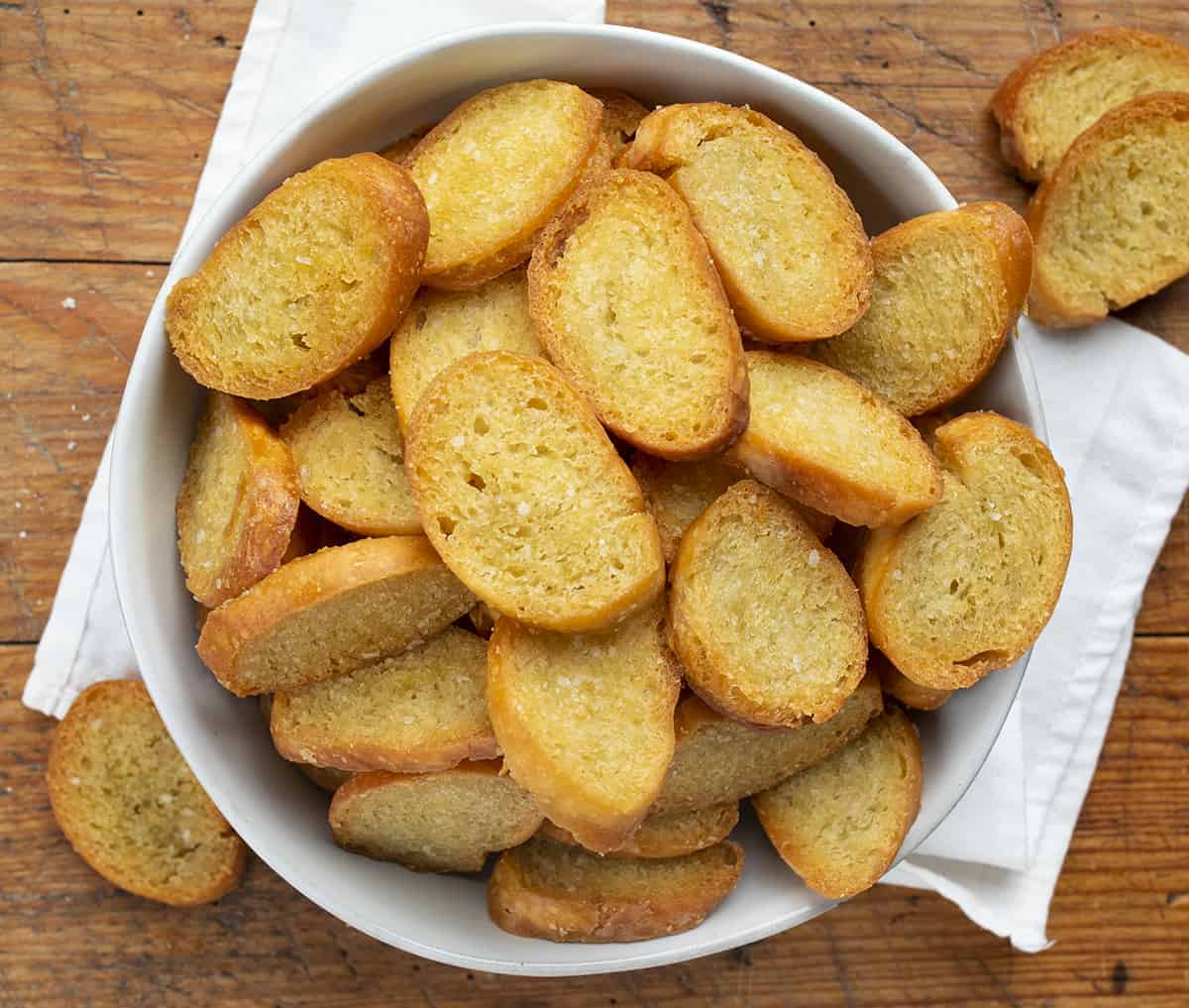 Bowl of Toasted Baguette - Crostini from OVerhead