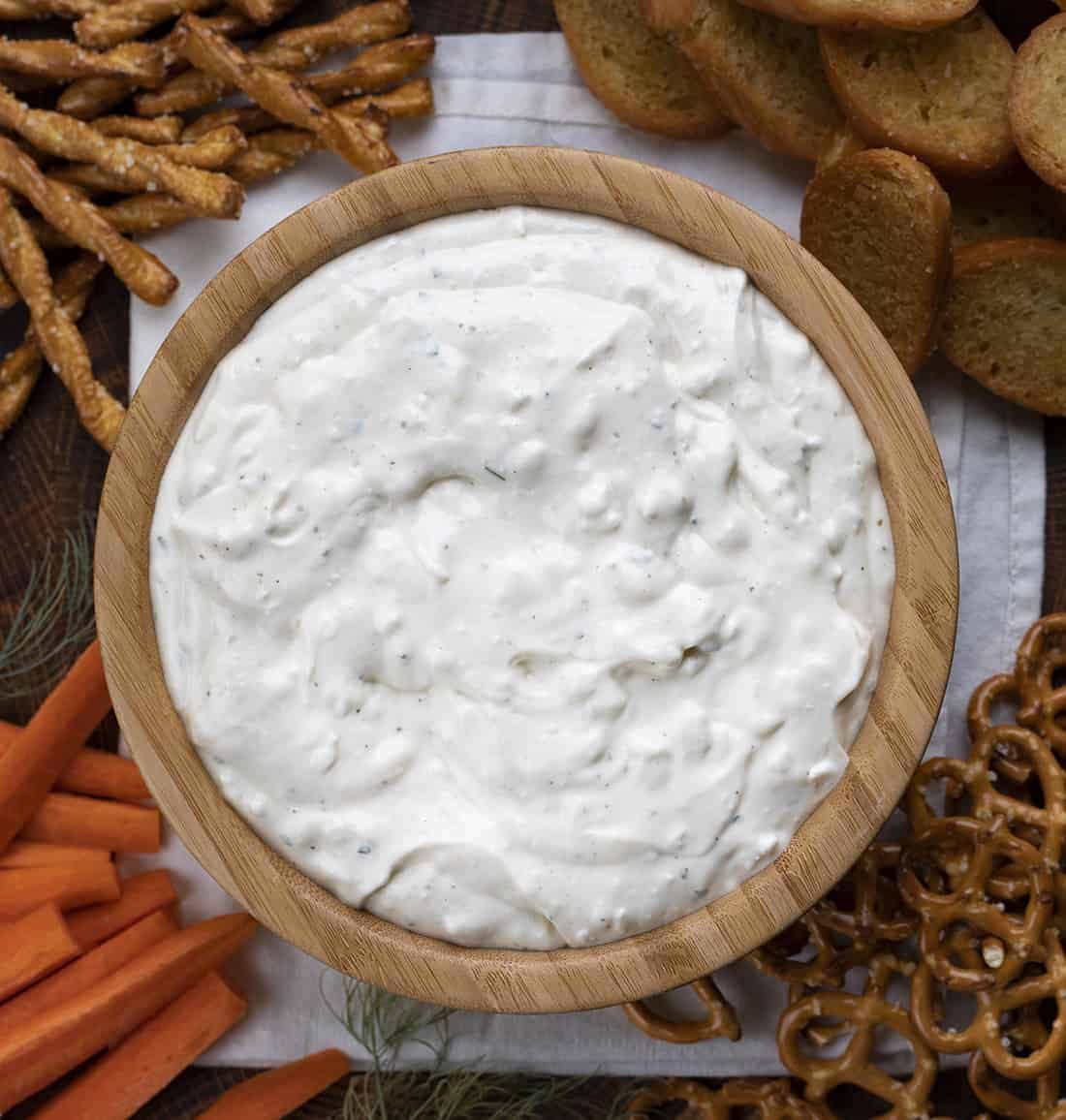 Overhead Image of Cottage Cheese Ranch Dip {Cuppa Cuppa Cuppa}
