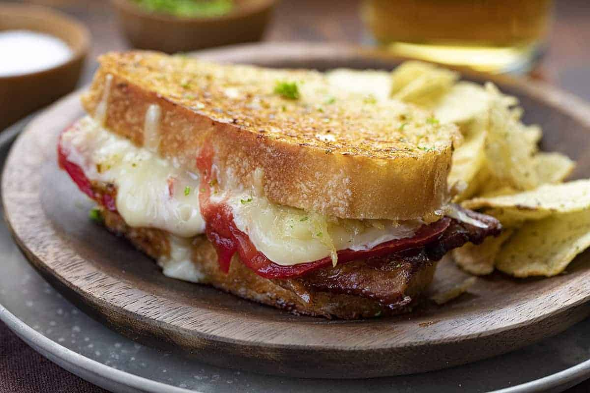 Roasted Garlic Grilled Cheese Sandwich on Plate