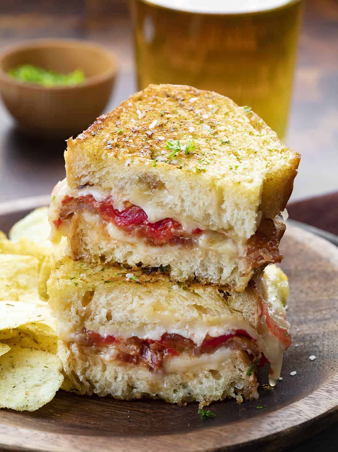 Cut Into and Stacked Roasted Garlic Grilled Cheese Sandwich