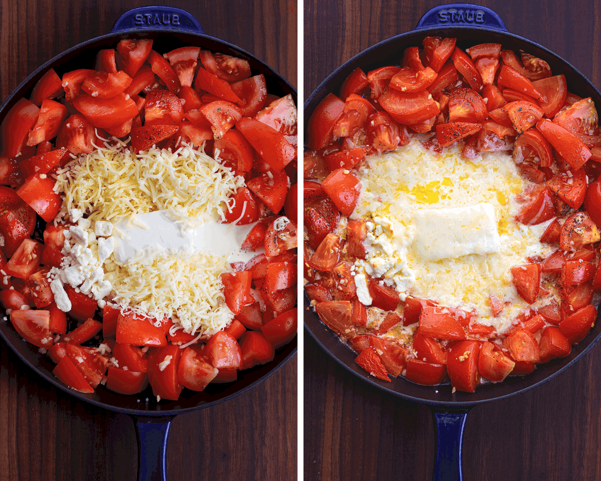 Before & After for Six Cheese Roasted Tomato Pasta Recipe - Tomato Feta Pasta