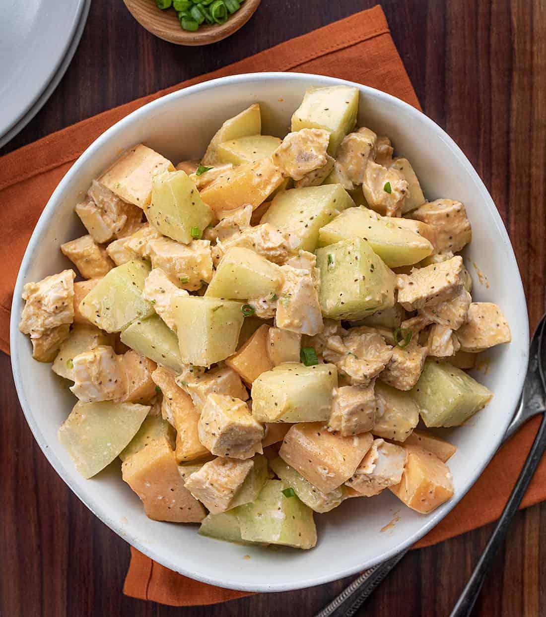 Overhead Image of Cantaloupe Honey Dew Salad - Melon Salad