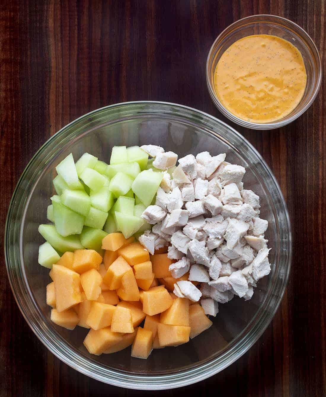 Raw Ingredients for Cantaloupe Honey Dew Salad - Melon Salad
