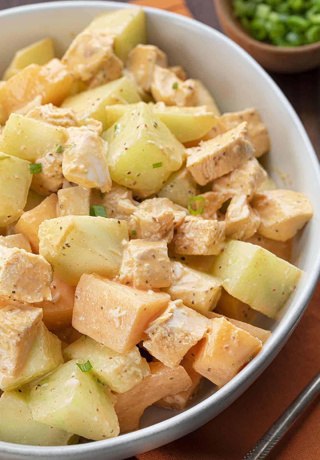 Bowl of Cantaloupe Honey Dew Salad - Melon Salad