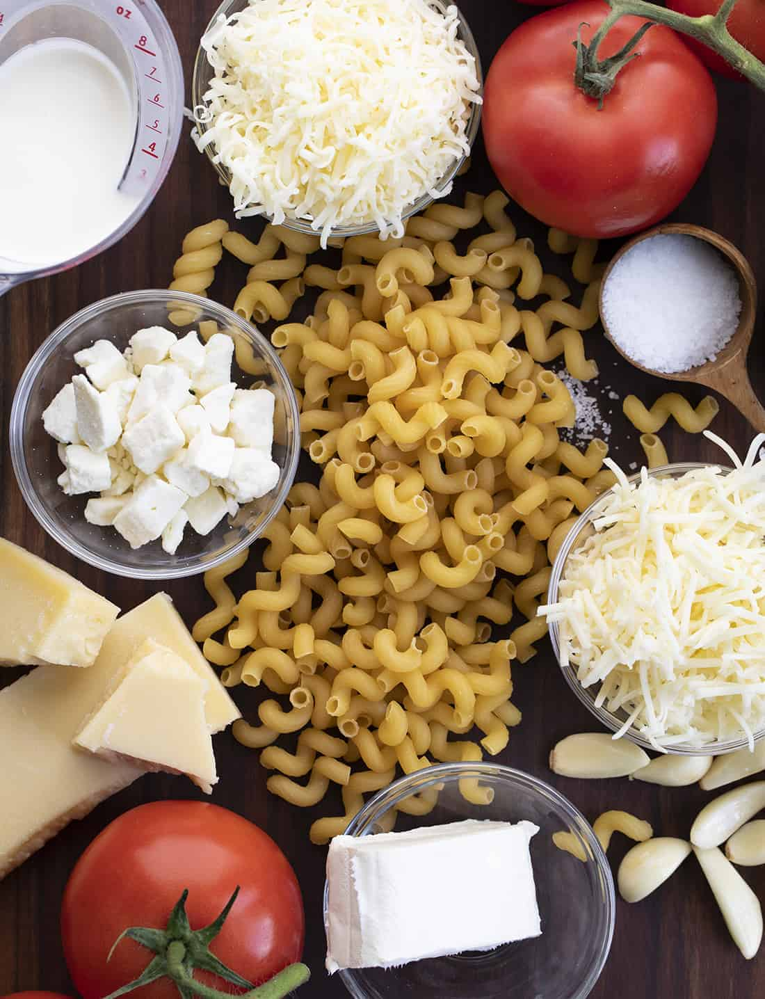 Raw Ingredients for Six Cheese Roasted Tomato Pasta Recipe