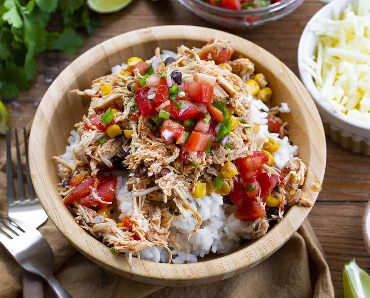 Bowl of Rice and Crockpot Southwest Chicken