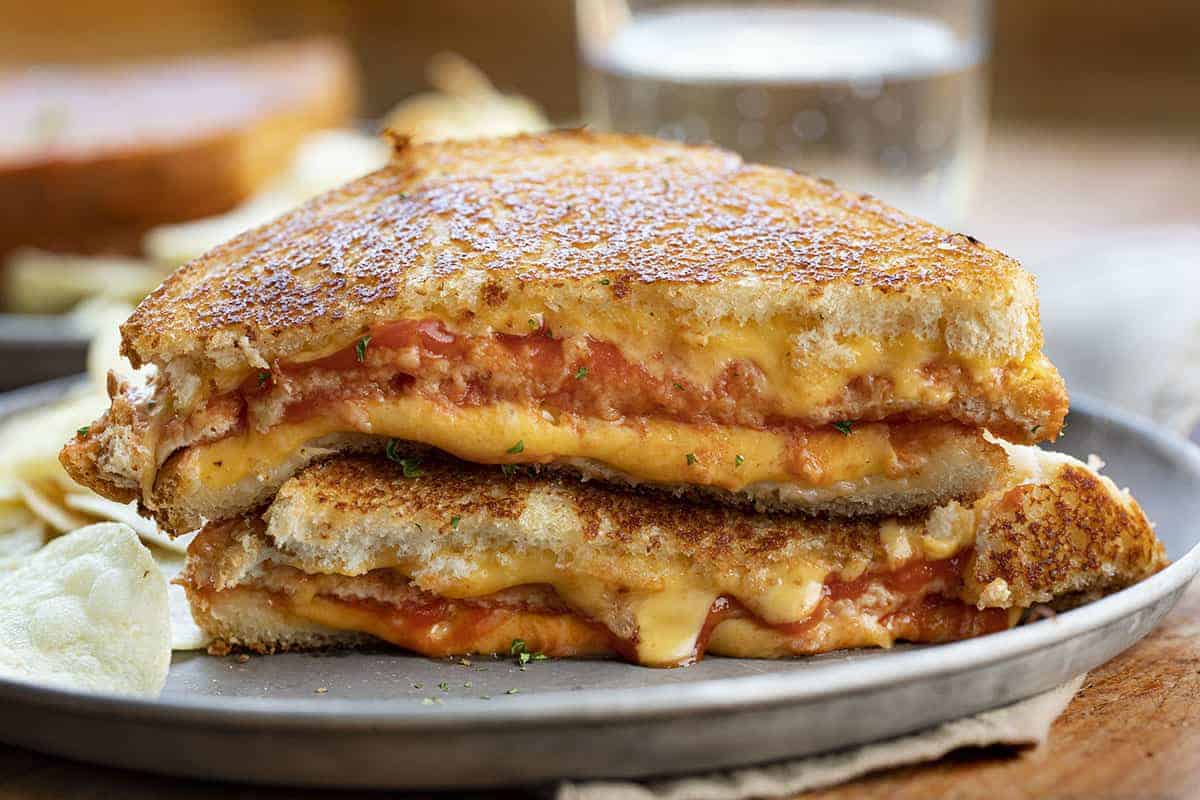 Triple Decker Tomato Grilled Cheese on Plate