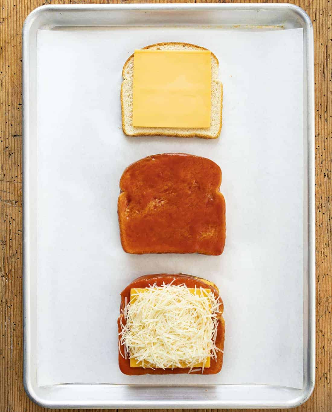 Steps for making Triple Decker Tomato Grilled Cheese