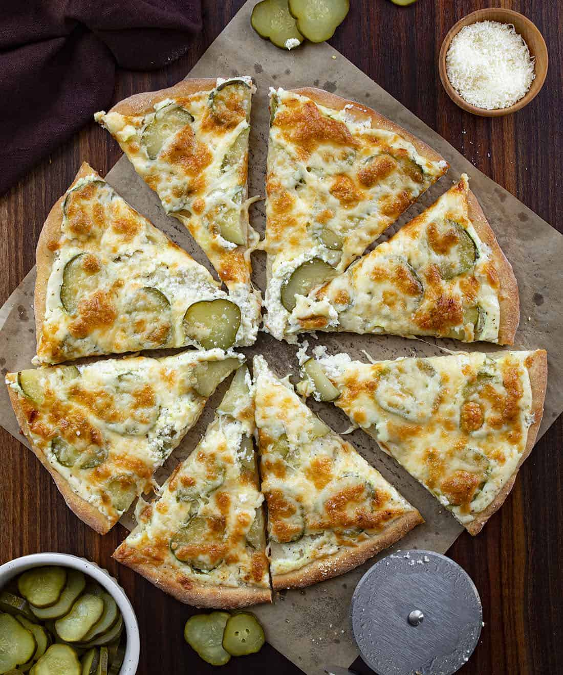 Overhead of Cut Into Pickle Pizza