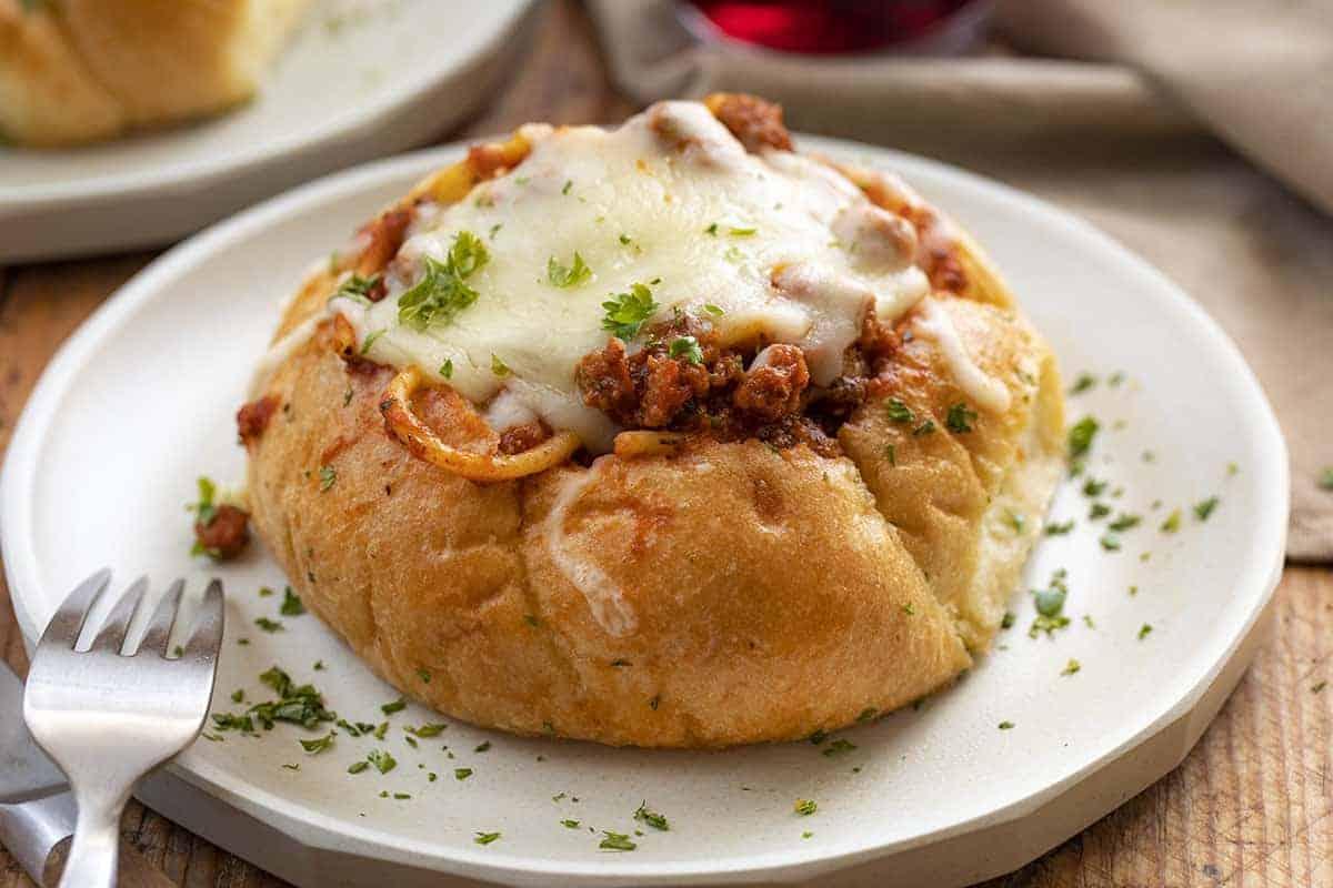 Bread Bowl Spaghetti on a Plate