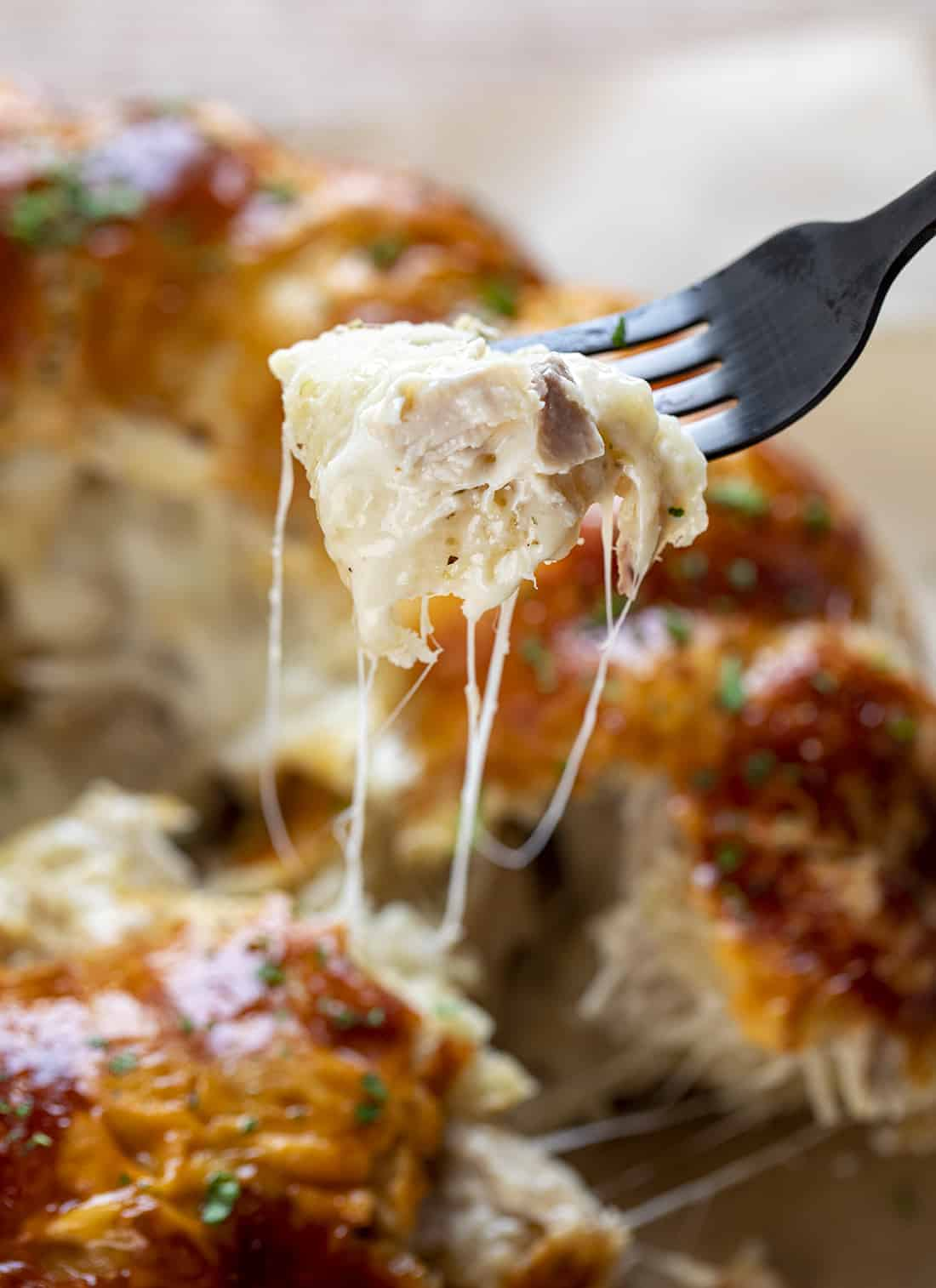 Forkful of  Chicken Alfredo Monkey Bread