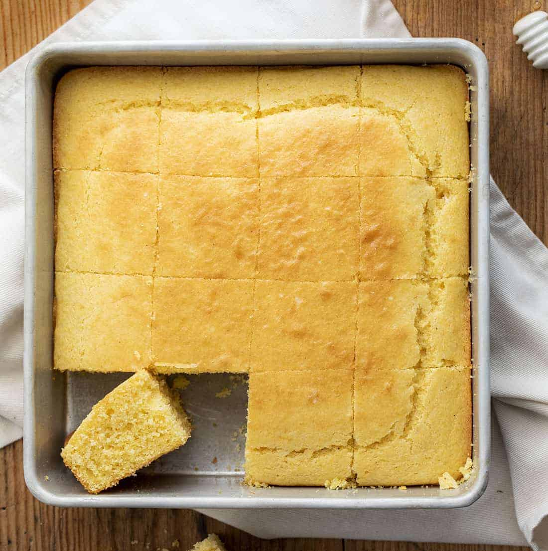 Overhead Image of Sliced Cornbread in a Pan