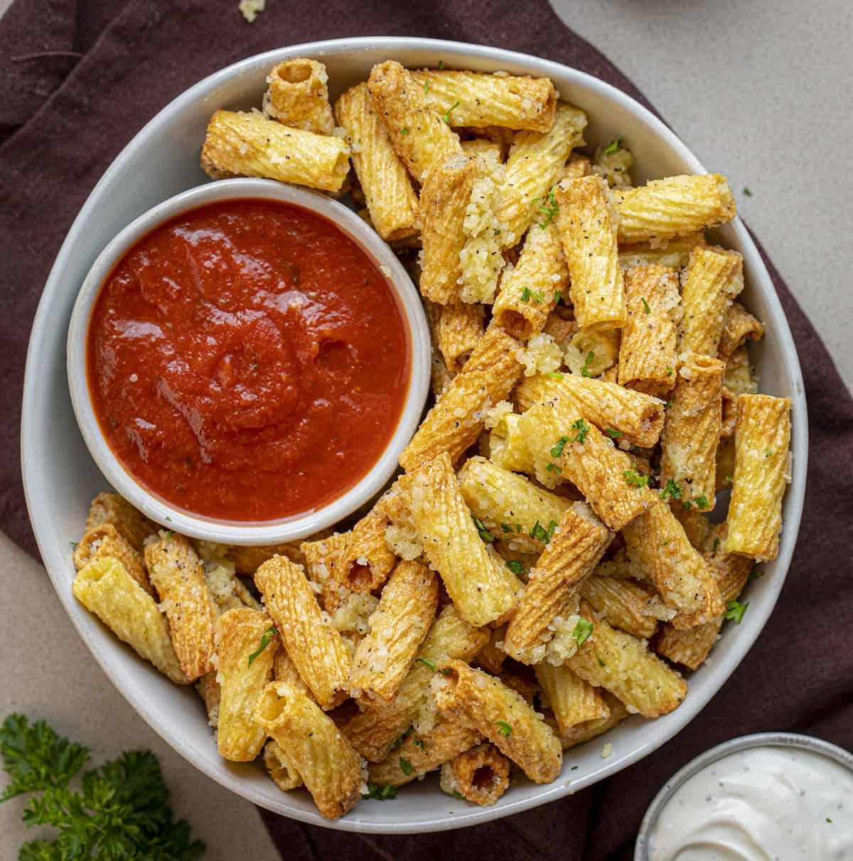 Air Fryer Pasta Chips with Marinara Sauce
