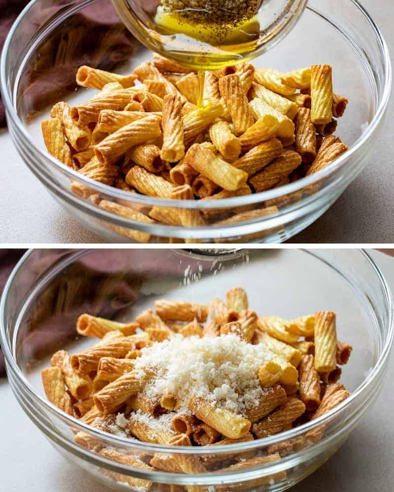 Adding Toppings to Air Fryer Pasta Chips