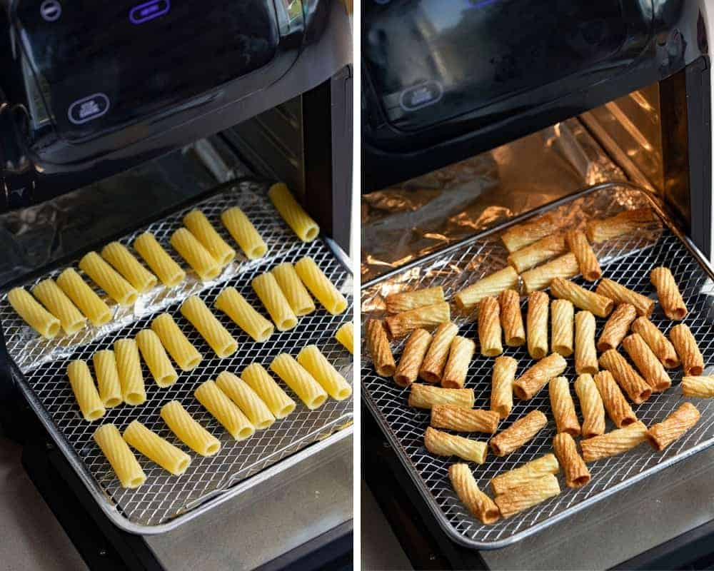 How to Make Air Fryer Pasta Chips Before and After