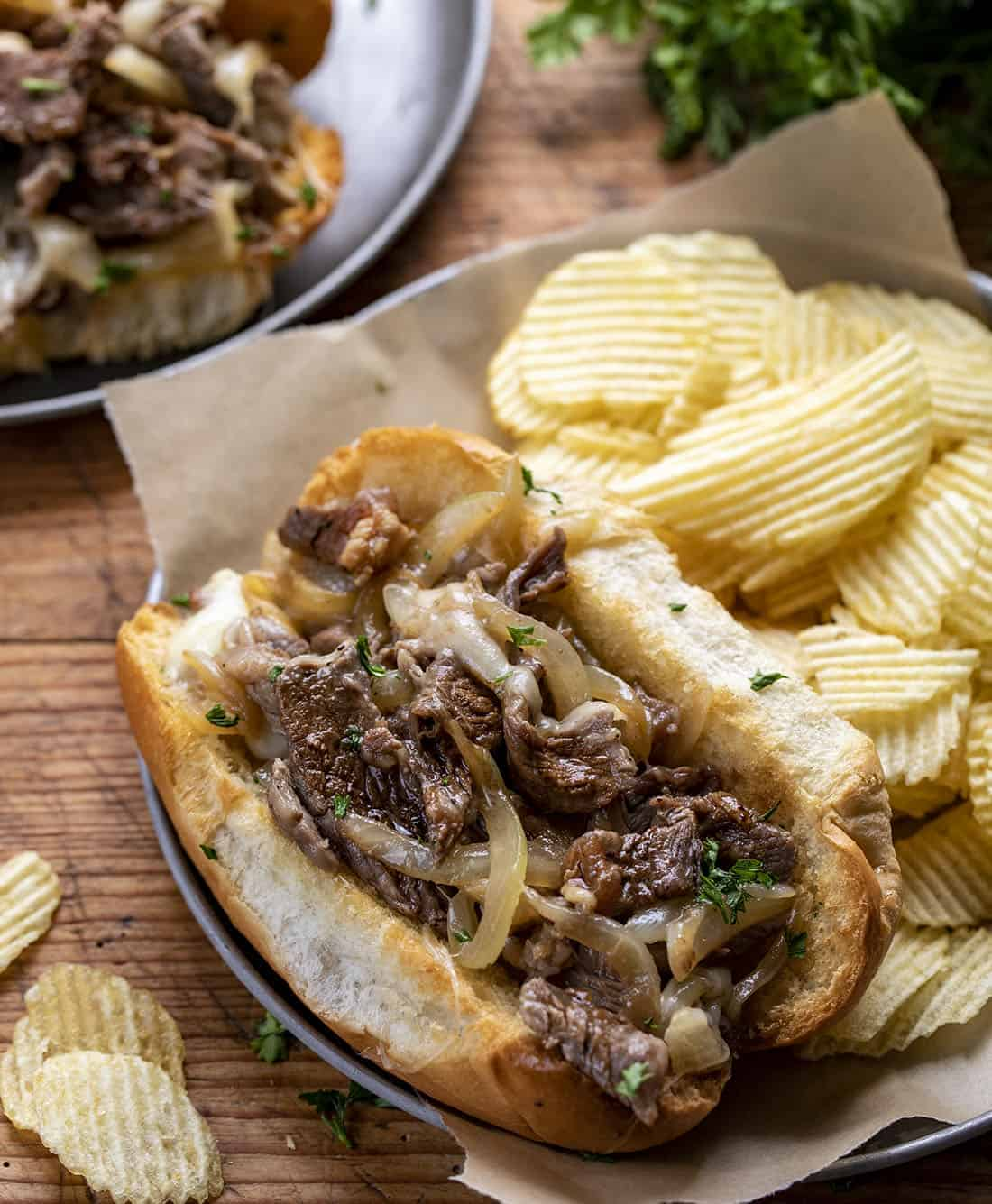 Philly Cheesesteak Sandwich on a Plate