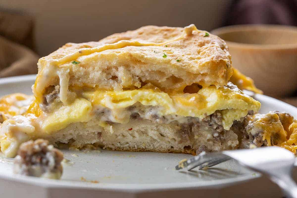 Piece of Biscuits and Gravy Casserole
