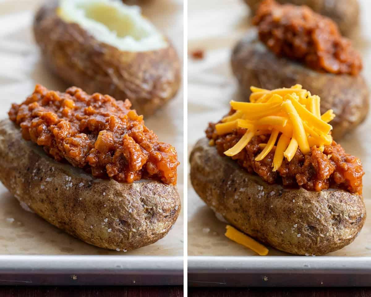 Process Steps for Sloppy Joe Baked Potato