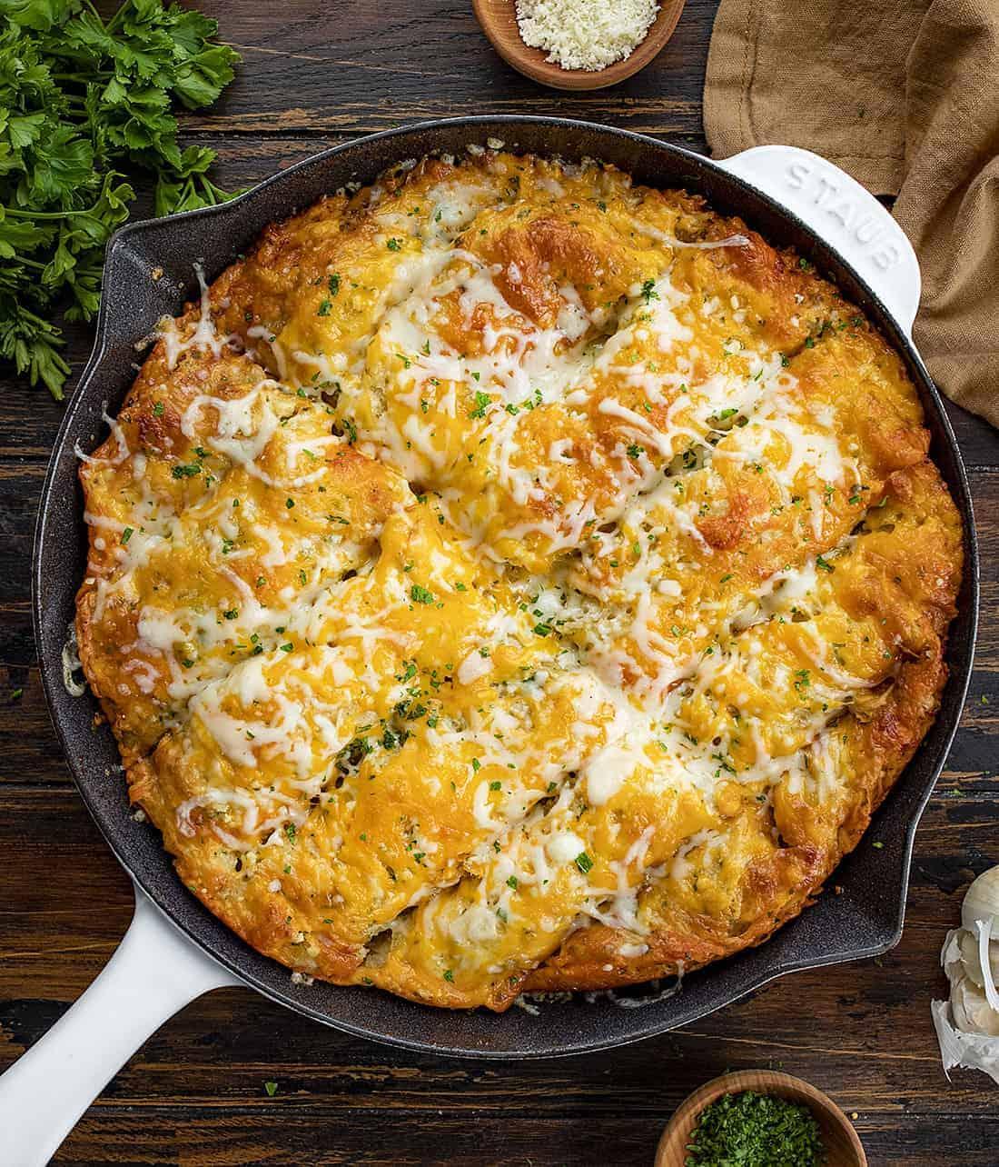 Overhead View of Focaccia Cheesy Garlic Bread in Skillet