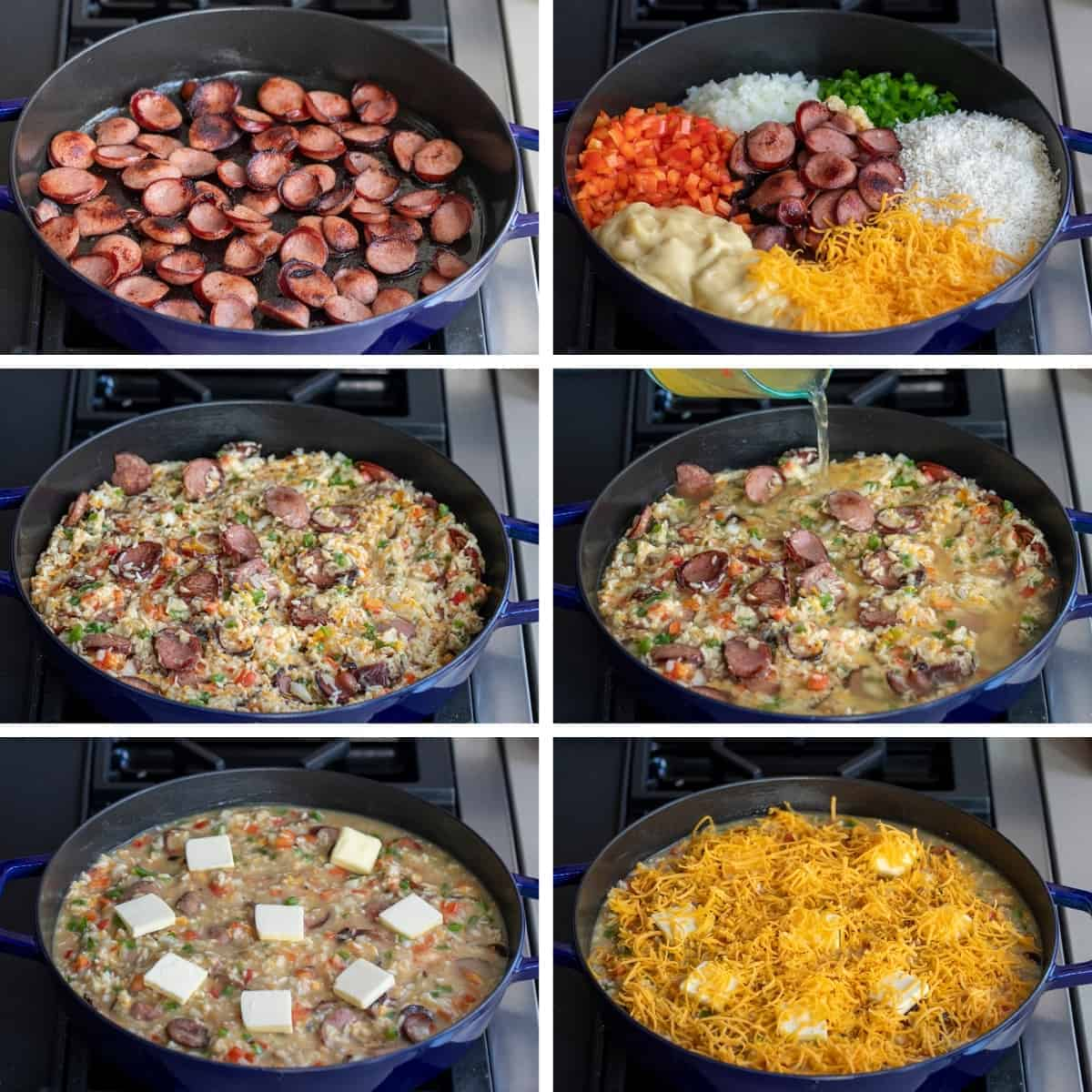 Process for Cheesy Sausage and Rice Recipe
