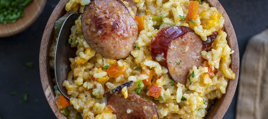 Cheesy Sausage and Rice