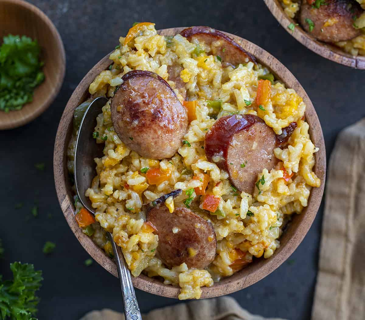 Bowl of Cheesy Sausage and Rice