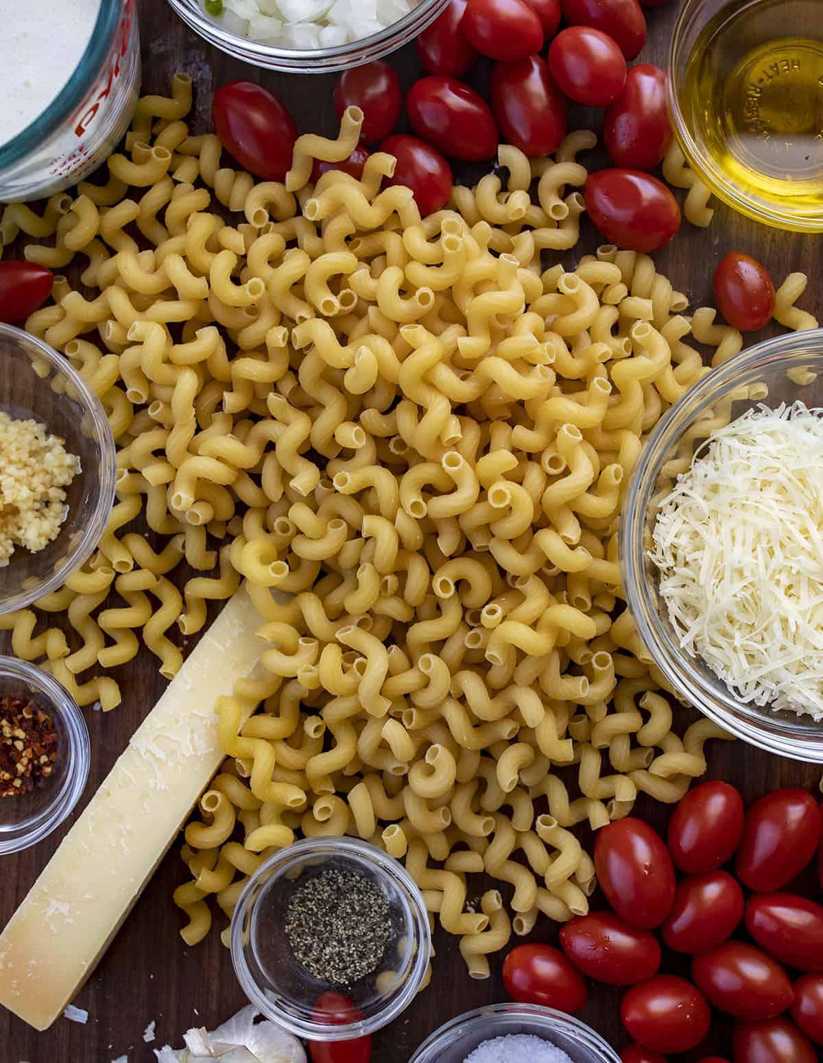 Raw Ingredients for Creamy Tomato Pasta Recipe