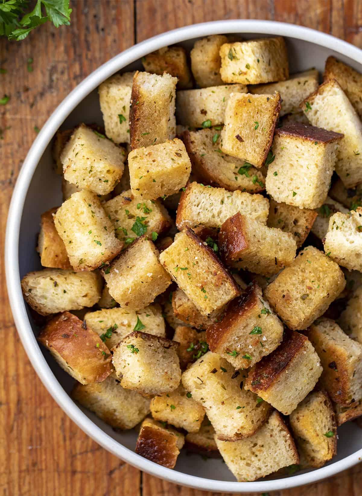 Bowl of Sourdough Croutons