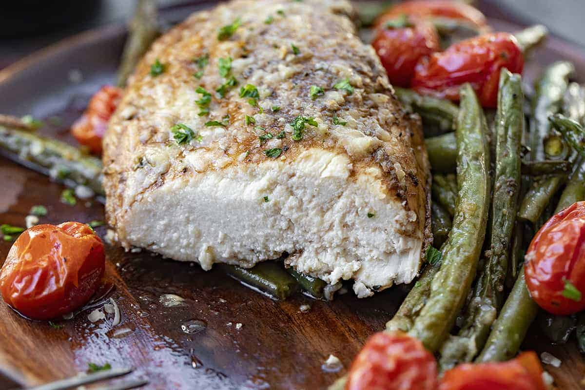 Tuscan Chicken Cut into Showing Juicy Chicken
