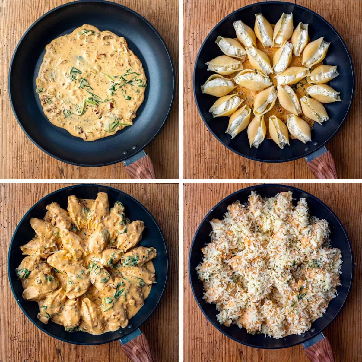 Process for Making Tuscan Stuffed Shells in Skillet